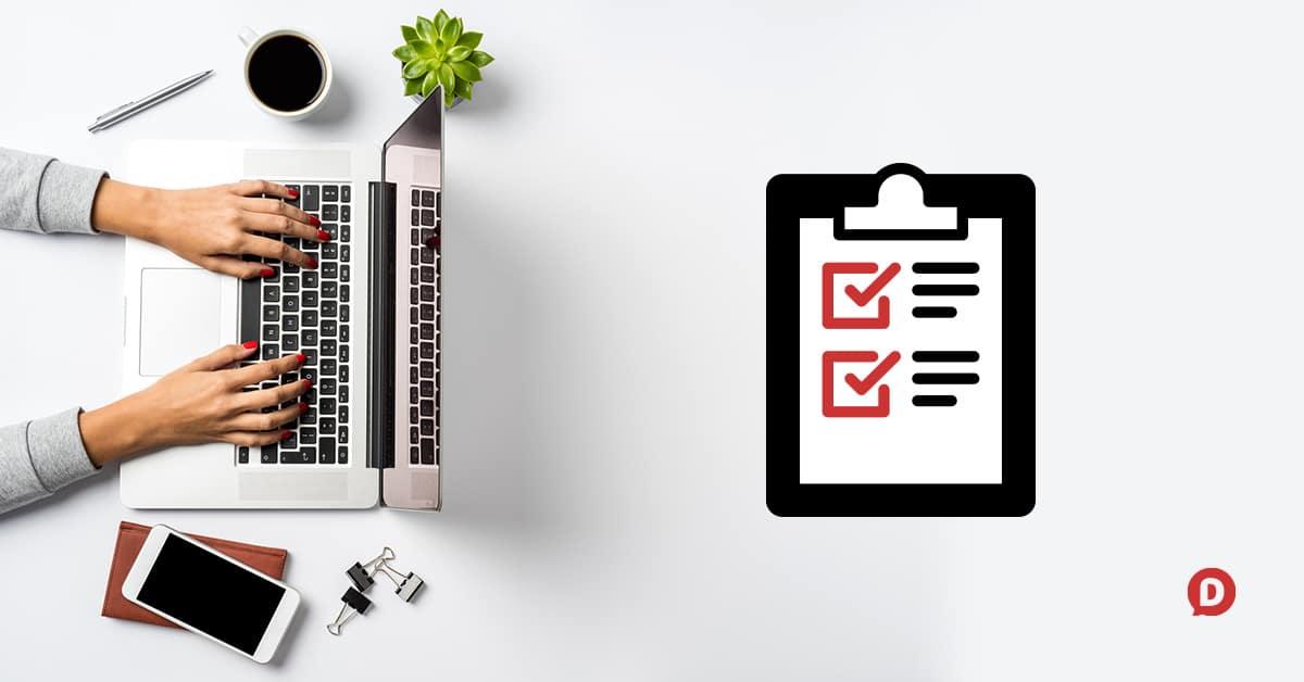 overhead desk and epic blog post checklist