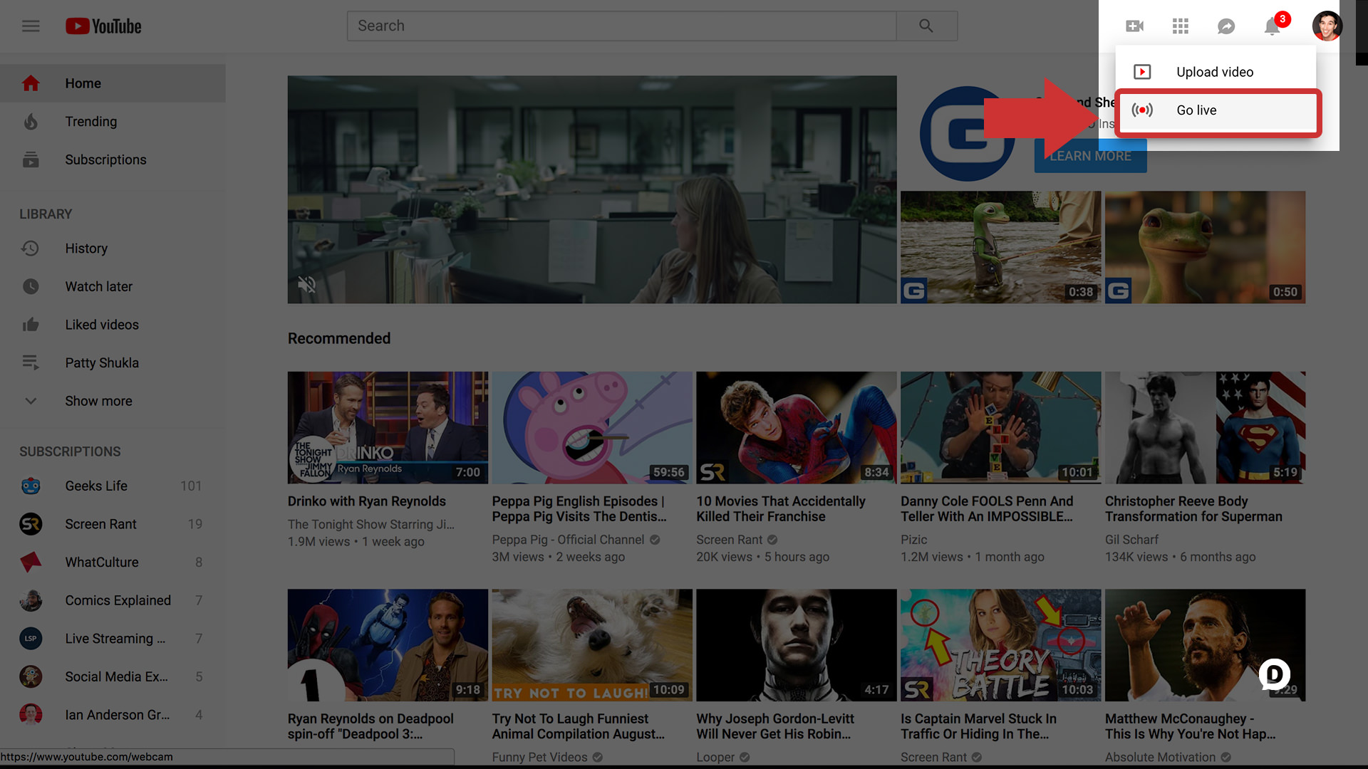 YouTube screenshot with Go Live button highlighted