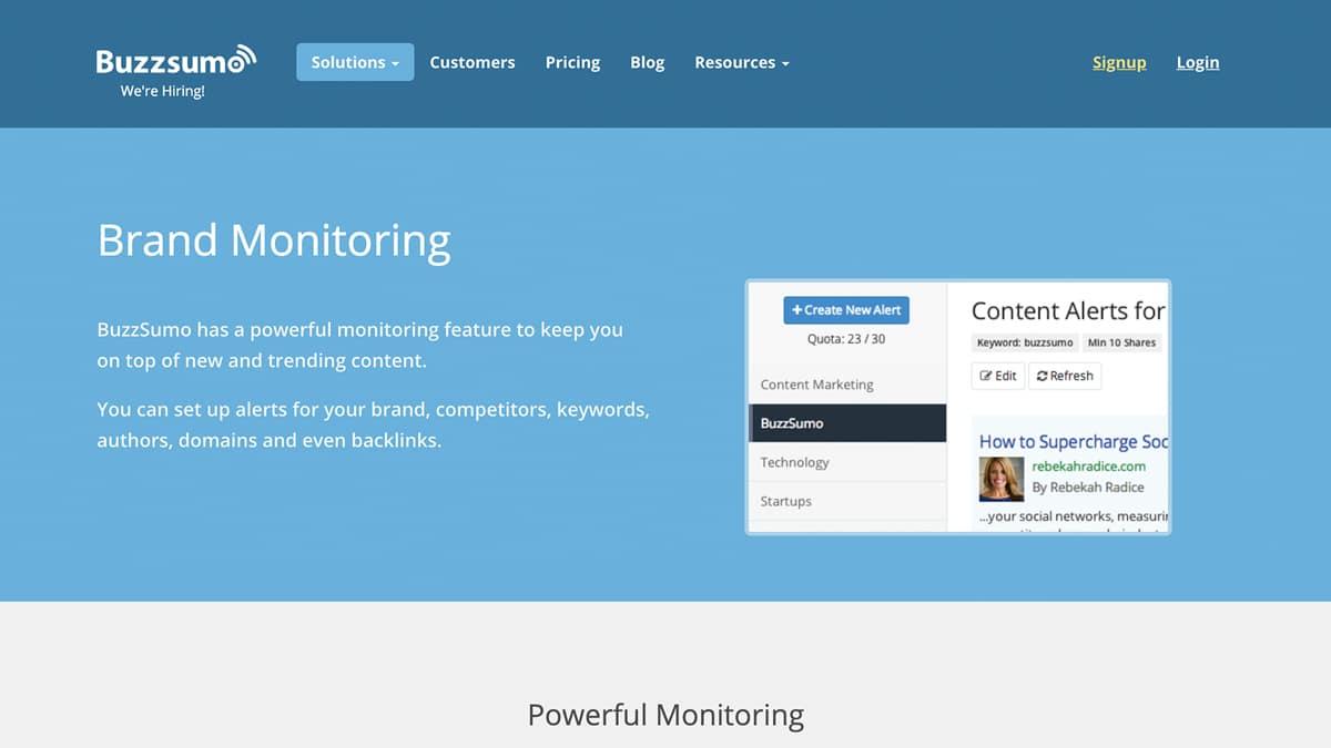 buzzsumo brand monitoring homepage