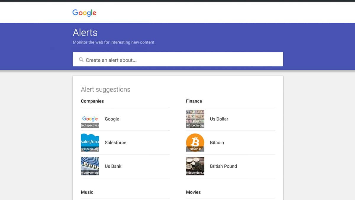 google alerts screenshot
