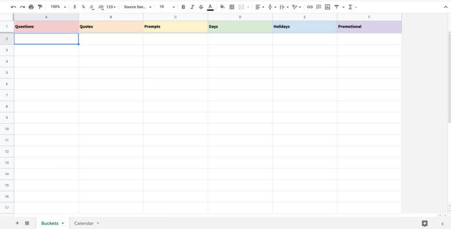 content calendar buckets spreadsheet